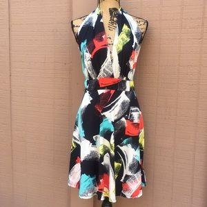 Sz L Venus Geometric Halter Dress Cute EUC